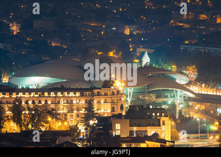 Tbilisi, Georgia. Evening Scenic Aerial View Of Justice House, Public Service Hall The Fufuturistic Building With - Stock Photo