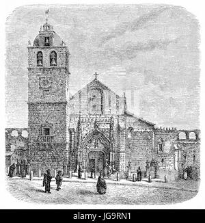 Old view of Matriz church in Vila do Conde, northern Portugal. Created by Catenacci after photo by Scabra, published - Stock Photo