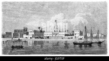 Old view of Saint-Louis from the sea, Senegal. Created by Bérard after Nouveaux, published on Le Tour du Monde, - Stock Photo
