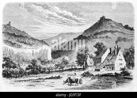 Old view of Saverne, France, Created by Lancelot, published on Le Tour du Monde, Paris, 1861 - Stock Photo