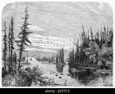 Old view of Thousand islands in the Lake Ontario, North America. Created by Huet after Deville, published on Le - Stock Photo