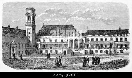 Old view of University of Coimbra main courtyard. Created by Catenacci after photo of Scabra, published on Le Tour - Stock Photo