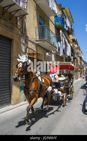 Man driving a horse and carriage in one of Palermos back streets. Palermo, Sicily, Italy. - Stock Photo