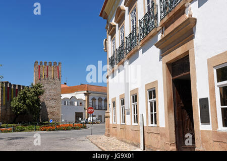 Castle and Casa do Alamo, Alter Do Chao, Beiras region, Portugal, - Stock Photo