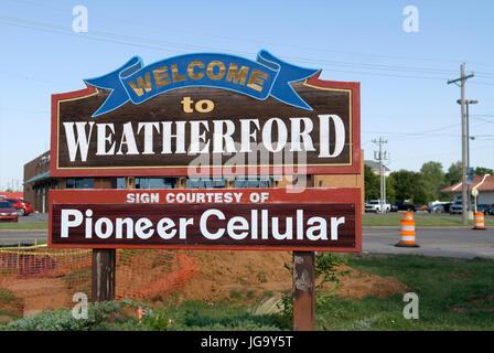 Stock photo of Weatherford Oklahoma welcome sign, USA. - Stock Photo