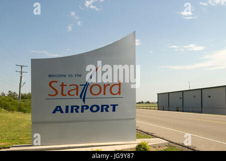 Stafford Airport welcome sign Weatherford Oklahoma, USA. - Stock Photo