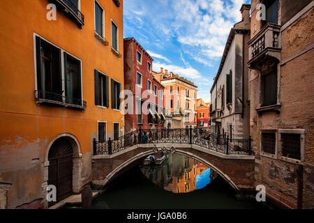 Quiet canal in Venice, Italy - Stock Photo