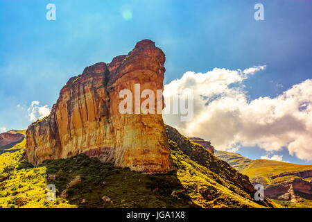 Scenic panoramic South Africa Golden Gate national park landscape - Impressive nature with golden red rock landmark - Stock Photo