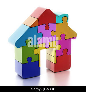 Multi colored puzzle pieces forming a house. 3D illustration. - Stock Photo