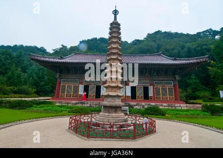 Buddhist Pohyon-temple, Mount Myohyang-san, North Korea - Stock Photo