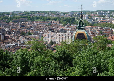 Aerial view of Besancon, France - Stock Photo