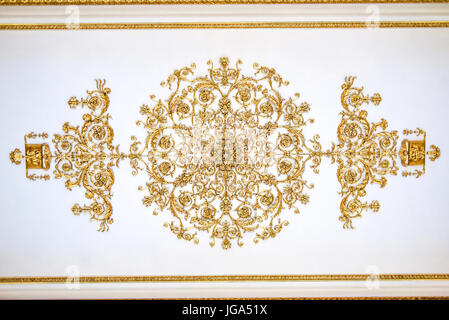 Saint Petersburg, Russia, October 4, 2016: Hermitage museum interior ceiling. - Stock Photo