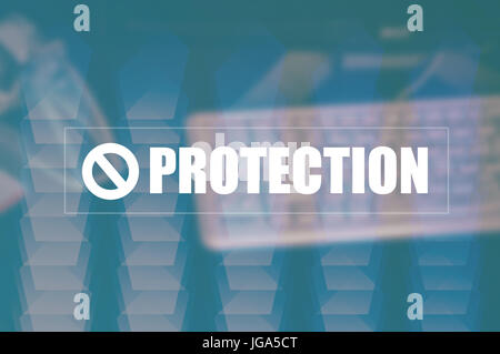 protection with blurring business background - Stock Photo