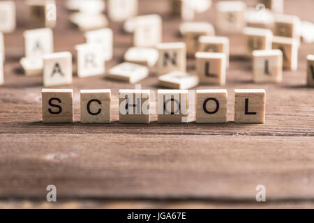 Alphabet letters on wooden pieces collected to word school - Stock Photo