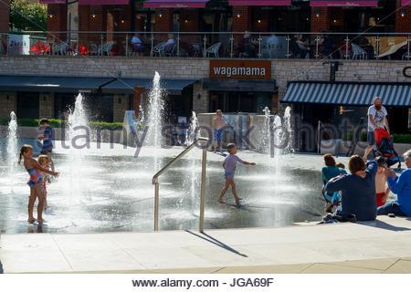 Brewery Square fountains, Dorchester, Dorset England Britain - Stock Photo