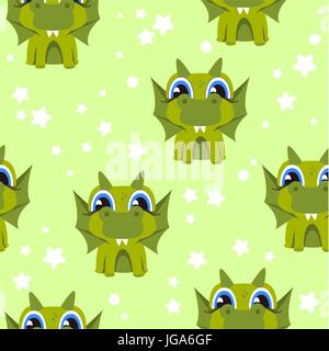 vector seamless pattern with dinosaur - Stock Photo