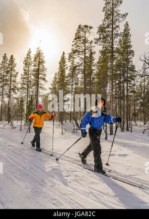 Cross Country Skiing, Lapland, Finland - Stock Photo