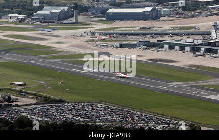 aerial view of an EastJet aircraft landing at Manchester Airport, UK - Stock Photo