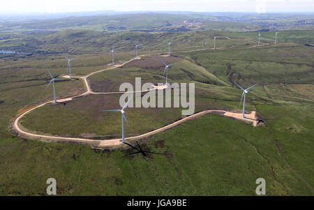 aerial view of wind farm turbines on the Pennines, north east of Rochdale, UK - Stock Photo