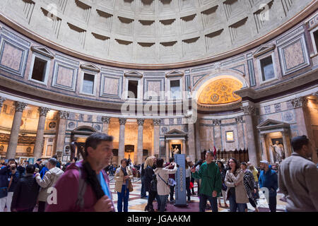 Rome, Italy - October 01, 2015. The Pantheon is an ancient Roman building located in the historic center. Tourists - Stock Photo
