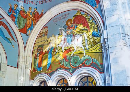 TBILISI, GEORGIA - JUNE 2, 2016: The wall of Georgian Orthodox Kashveti Church of St George decorated with the icon - Stock Photo
