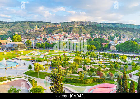 The Avlabari neighborhood boasts the picturesque Rike park, perfect place for family rest, enjoying landscaping, - Stock Photo