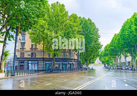 TBILISI, GEORGIA - JUNE 2, 2016: Rustaveli Avenue is one of the central city promenades, the fine place for shopping, - Stock Photo