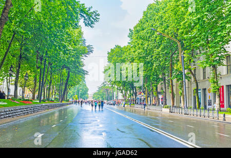 TBILISI, GEORGIA - JUNE 2, 2016: People walk along the wet road in Rustaveli Avenue with lush trees from both sides - Stock Photo