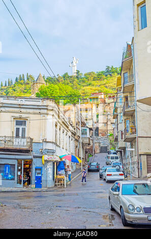 TBILISI, GEORGIA - JUNE 5, 2016: The streetscape of the old town, the ramshackle buildings along the Betlemi street, - Stock Photo
