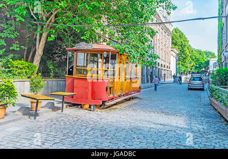 TBILISI, GEORGIA - JUNE 5, 2016: The old tram konka (horsecar), converted into the bar and located in Sioni street - Stock Photo