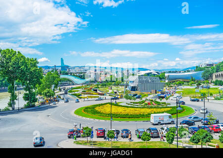 TBILISI, GEORGIA - JUNE 6, 2016: The view from Metekhi hill on the Square of Europe with scenic flower bed, Lower - Stock Photo
