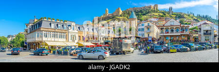 TBILISI, GEORGIA - JUNE 5, 2016: The square of Vakhtang Gorgasali is famous for its numerous cafes and restaurants, - Stock Photo