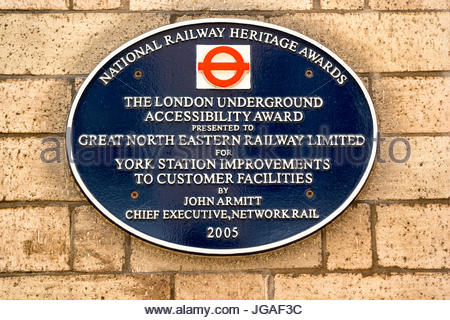 Plaque at York Station - National Railway Heritage Awards - London Underground Accessibility Award - Stock Photo