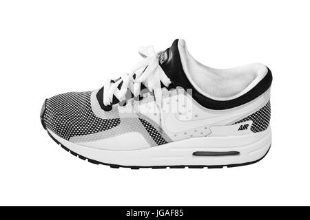 SOFIA, BULGARIA - JULY 1, 2017: Nike Air MAX Zero Essential shoes - sneakers - trainers in black and white isolated - Stock Photo