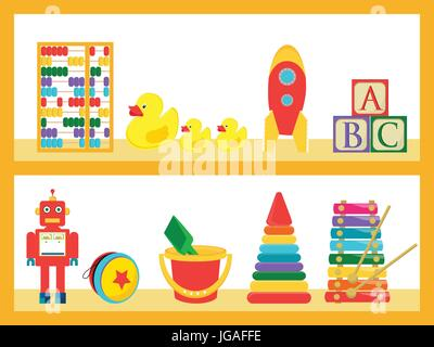 Vector illustration baby kids toys on wood shop shelves. Different children toys set, collection - Stock Photo
