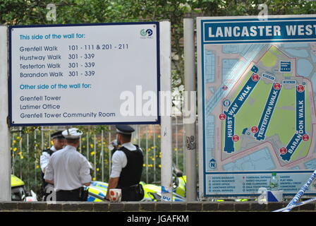 Lancaster West Sign Post, Showing Grenfell Tower Position, Grenfell Estate, London UK 19th June, 2017. Credit Katherine - Stock Photo