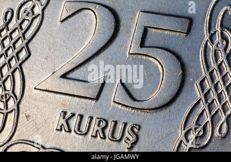 Turkish Money Twenty Five 25 Kurus Coin Macro - Stock Photo