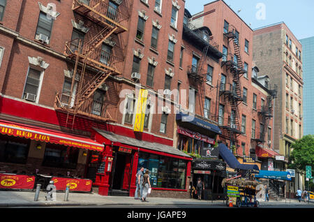 New York,NY, USA - 11 June 2015 - Clubs, bars, and pubs such as the Red Lion, Wicked Willie's, Terra Blues, The - Stock Photo