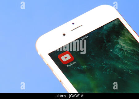 New york, USA - July 03, 2017: YouTube icon on mobile screen close-up. - Stock Photo