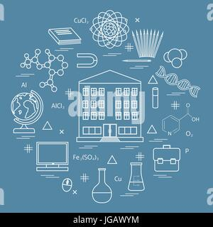 Vector illustration of variety scientific, education elements in a circle. Including icons of school, globe, pencil, - Stock Photo