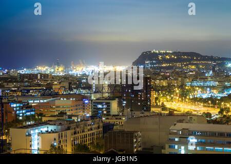 Night panorama of illuminated Barcelona, Catalonia, Spain - Stock Photo