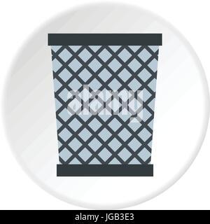 Wire metal bin icon circle - Stock Photo
