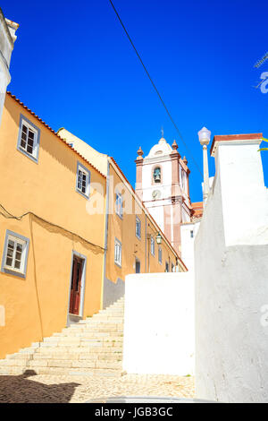 Streets of Silves with  historic cathedral, Algarve, Portugal - Stock Photo