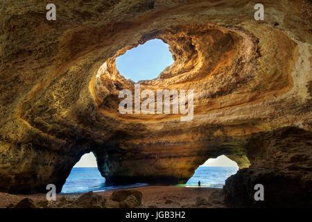 Beautiful natural cave in Benagil, Algarve, Portugal - Stock Photo