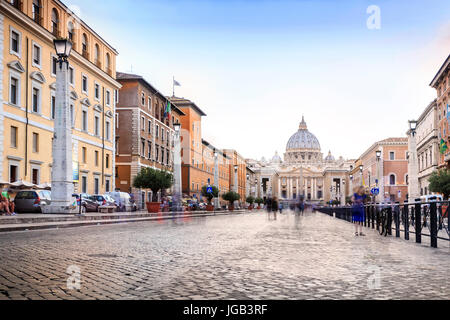 Saint Peter's Basilica and square in Vatican City, Rome, Italy - Stock Photo