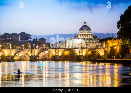 Beautiful view of Tiber river and Vatican dome, Rome, Italy - Stock Photo