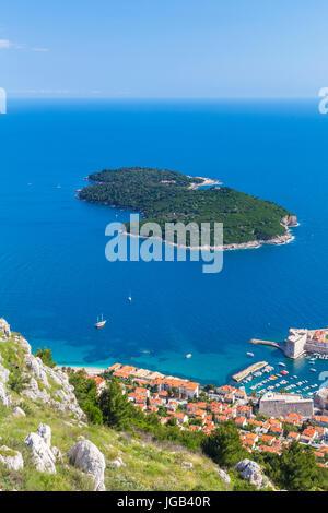 Croatia Dubrovnik Croatia Dalmatian coast aerial view Lokrum island  and Dubrovnik harbour  Adriatic sea from Mount - Stock Photo
