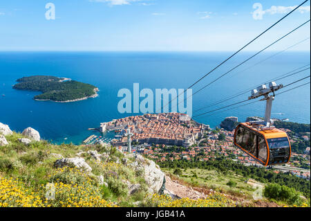 Dubrovnik Croatia Dalmatian coast dubrovnik Cable car up Mount Srd Dubrovnik Old Town aerial view Lokrum island - Stock Photo