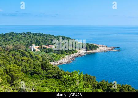 Croatia Dubrovnik Croatia Dalmatian coast aerial view of  Lokrum island Dubrovnik Benedictine Monastery Of St Mary - Stock Photo