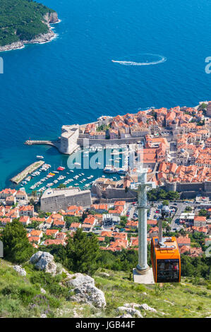 Dubrovnik Croatia Dalmatian coast dubrovnik Cable car up Mount Srd Dubrovnik Old Town aerial view, Dubrovnik, Dalmatian - Stock Photo